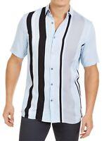 Alfani Men Shirt Blue Black Size Medium M Bowler Stripe Button Down $55- 344