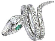 Schlangen Ring Smaragde Brillant 750er Weissgold