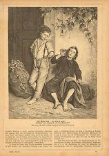 Children, Smoking Tobacco, Cigar Smoking, German, 1881 Antique Art Print,