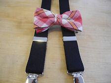 SUSPENDER SET PRETEEN BOYS RED/YLW MADRAS BOW/ BLACK SUSPENDER/USA MADE