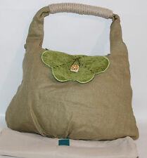 Borsa Thun tessuto originale beige verde grande spalla donna