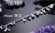 ADJUSTABLE children baby christening charm bracelet 925 sterling silver p bangl