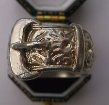 Men's Solid Silver Vintage 'Buckle' Ring Size S 1/2 Weight 16.5g Quality Stamped