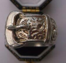 Hombre Plata Maciza Vintage hebilla de' ' Anillo Tamaño S 1/2 peso 16.5g Calidad Estampado