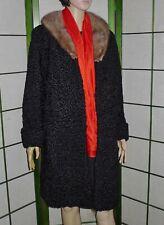 Nice vtge black Persian lamb fur coat with mink collar - Sz 10