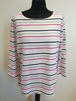 EE295 WOMENS JOULES MARINERS GRADE PINK BLUE WHITE STRIPED JUMPER UK 18 US 14