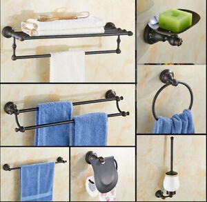 Black Brass Bathroom Accessories Set Paper Holder Towel Rack Bath Hardware Set