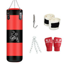 "39"" Heavy Boxing Punching Bag Training Gloves Kicking MMA Workout w/Hook Chain"