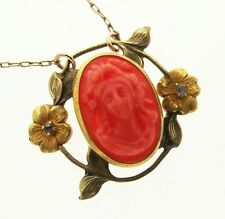 Antique Art Nouveau Victorian Coral Cameo Gold F Necklace, Goddess Flora