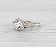 1.72Ct Brilliant Round Moissanite Engagement Ring Solid 14K White Gold Finish