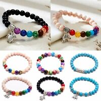 Women 7 Chakras Bracelet Bangle White Pine Beads Natural Stone Elastic Jewelry