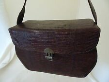 BROWN LEATHER HAND BAG/PURSE-1946 ATTIRE-VTG-.CLEAN & USABLE-BOXY AND BEAUTIFUL