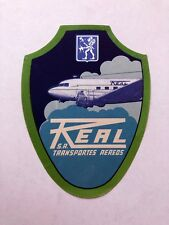 Vintage Real Transportes Aereos Brazil Airlines Luggage / Baggage Label