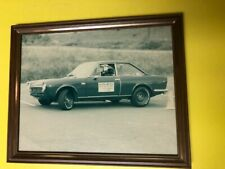 Vintage 1960s Fiat 124 Coupe Racing Car Photo Photograph - Original Framed