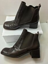 "Donald Pliner Womens Ankle Boots 8M Brown Elastic sides slip on 2.25"" heel"