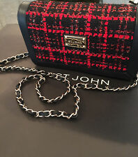 NEW ST JOHN KNIT BLACK CAVIAR & RED  CHAIN CROSS BODY BAG LEATHER TWEED