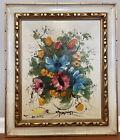 "Vintage Gallerywall Flowers in Vase Carved  Frame Oil Painting 25x21"" Signed"