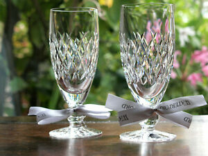 Waterford Crystal Boyne Champagne Glasses Pair Mint made in Ireland