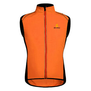 Mens Cycling Vest Windproof Reflective Gilet Sleeveless Soft Shell Wind Coat