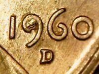 1960 D Lincoln Memorial Cent Die Chip / Break Die Error Uncirculated BU