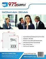 "975 Supply Address Labels Half Sheet 5.5 x 8.5"" 200 Labels/Pack. 200 Labels."