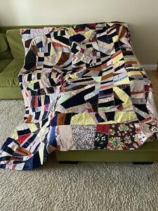 "Antique Vintage Hand Stitched Crazy Quilt Topper Silk Velvet 81"" x 104"""