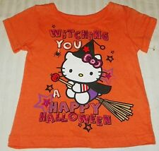 "NEW"" Hello Kitty ~ Witch HALLOWEEN ~ SHIRT Girl's 12M Orange GLITTER '12 Sanrio"