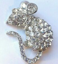 Vtg Rhinestone Large Mouse Rat Pin Clear Pave Stones Silver Rodent Brooch Estate