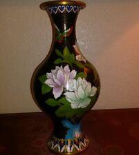 "UNUSUAL VINTAGE 1980s CHINESE 10 1/4"" black CLOISONNE VASE FLOWER & BUTTERFLY"