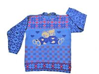 Pour Le Chic Womens Vintage Blue Red Teddy Bear Ugly Christmas Sweater L / XL