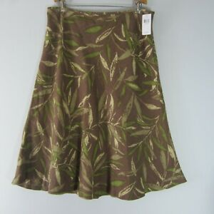 New Kate Hill Womens 16 Brown Green Floral 100% Linen Flare Skirt NWT $72