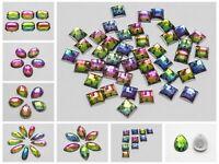 Clear Flatback Acrylic Big Rhinestone Gems Cabochons Craft DIY  No Hole