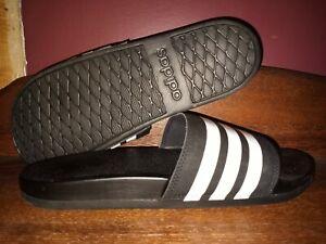 Adidas Mens  Slip On Open Toe Slides, Black/Cloud White/Black, Size 11.0 mens