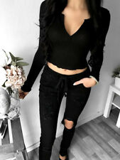 Sexy Women V-NECK Long Sleeve Knitted Pencil Slim Soft Sweater Blouse Tops