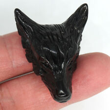 "1.6"" Carved Wolf Head Pendant Healing Crystal Natural Black Obsidian Necklace"