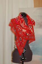 Otrera Red Silk Women's Scarf Evil Eye Charms Square New  NWOT