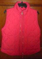 J. CREW QUILTED PINK ZIP FRONT VEST WOMEN'S SIZE MEDIUM