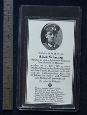 Wwii German Funeral Card Sterbebild Alois Schwarz June 11 1940 Poi-Terron France