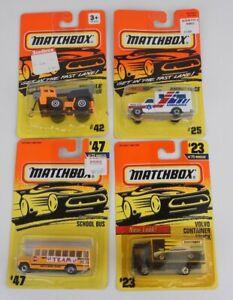 Lot Of 4 Matchbox 1/64 Diecast Bus #47 Volvo Truck #23 Ambulance #25 Crane #42