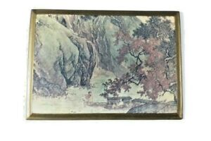 Vtg Lacquered Plaque Stream mountain with fishermen Reproduction Tang Yin 1523