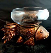 Bronze Color Koi Fish Shaped Resin Stand Glass Bowl Small Table Beta Aquarium