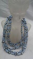 Stunning vtg Venetian murano foil art glass 5  strands gold tone clasp necklace