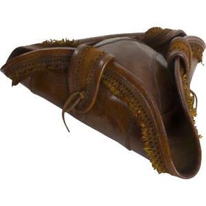 RENAISSANCE PIRATE BUCANEER CAPTAIN Genuine Brown Black Leather Men TRICORN HAT
