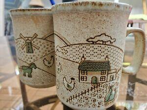 Set Of 2 Dunoon Mug Cups - Ceramic - Made in Scotland - Farm Scene