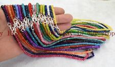Wholesale Fine 2x4mm Gemstone Faceted Rondelle Beads Necklace Silver Clasp