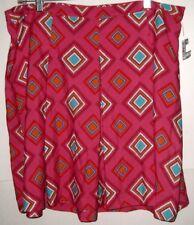 NEW Tommy Hilfiger Pleated Modern Skirt Fuchsia Magenta Teal Geometric 14 $60