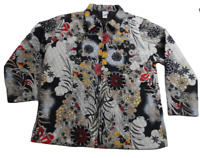 Roamans Womens Quilted Zip Front Jacket 1X Black Red White Tan Floral Plus Size