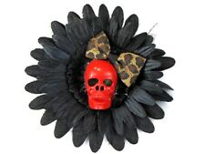 Hairy Scary Black & Red Skull & Leopard Bow Hairlot Skull Hair Clip