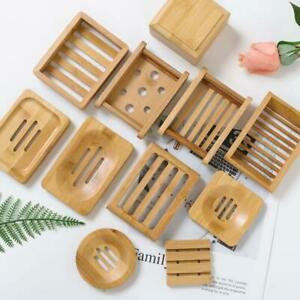 Wooden Natural Bambo Soap Dishes Tray Holder Rack Box Container Portable Storage