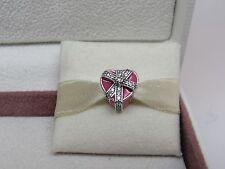 New w/Box Pandora Gift of Love w/ Pink Enamel & CZ's Charm #792047CZ Love Ornate
